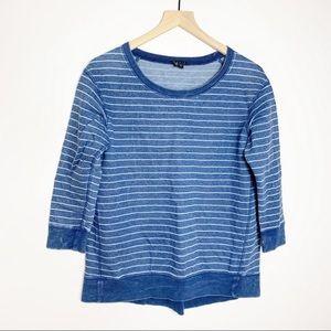 Theory Blue Stripe Vintage Wash Sweatshirt Xsmall